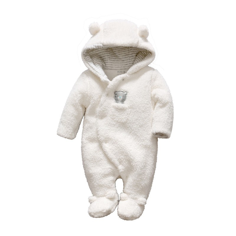 Wholesale top quality infant knitted white Bear unisex baby romper winter newborn baby clothes