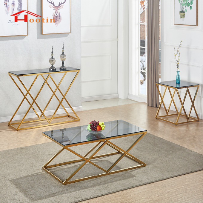 Modern Gold Stainless Steel Whit Glass Top Coffee Table Set Buy
