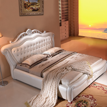 Classical Bedroom Furniture Diwan Style Leather Bed With Diamond