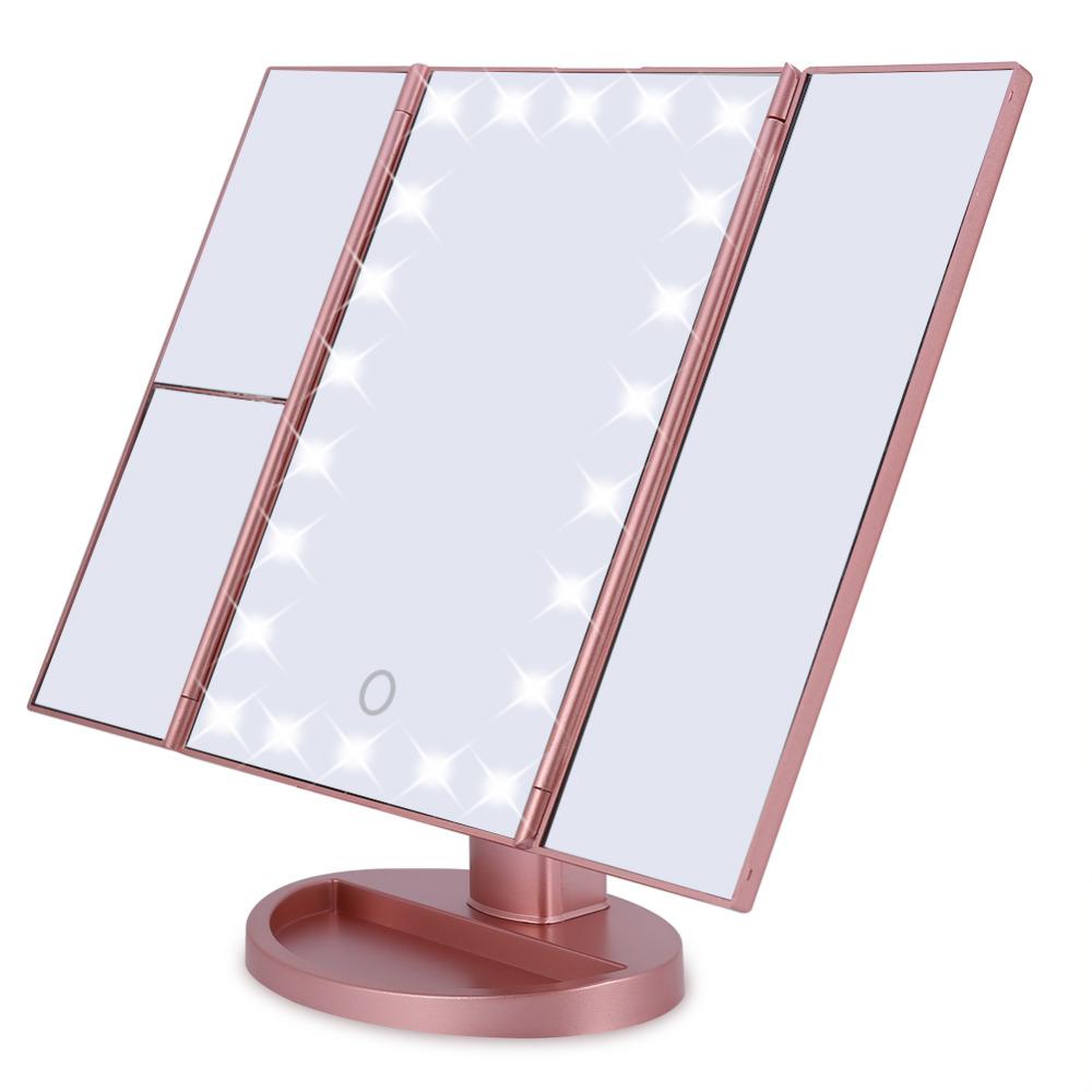 Tela de Toque Com Três Dadas 22 LED Espelho de Maquilhagem Iluminado Vaidade com 1x / 2x / 3x Ampliação de Carregamento USB 180 Graus Suporte Ajustável