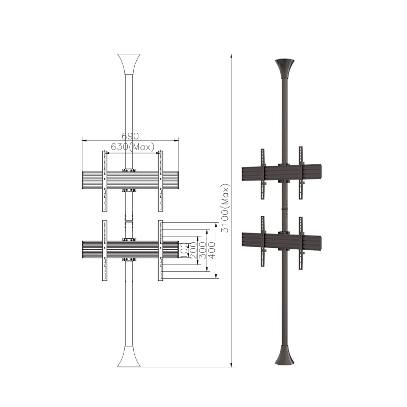 Height Adjustable Floor To Ceiling TV Pole Stand