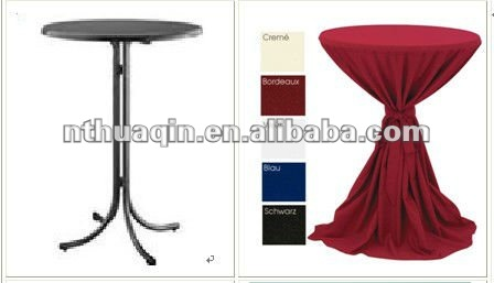 Bistro Tablecloth For Wedding Outdoor Polyester Scuba High Bar Table Cover With Sash Jersey Tail