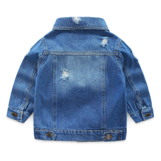 Hot product oem toddler kids plain long private label coat unisex blue baby girls boys buttons camo denim jean jacket