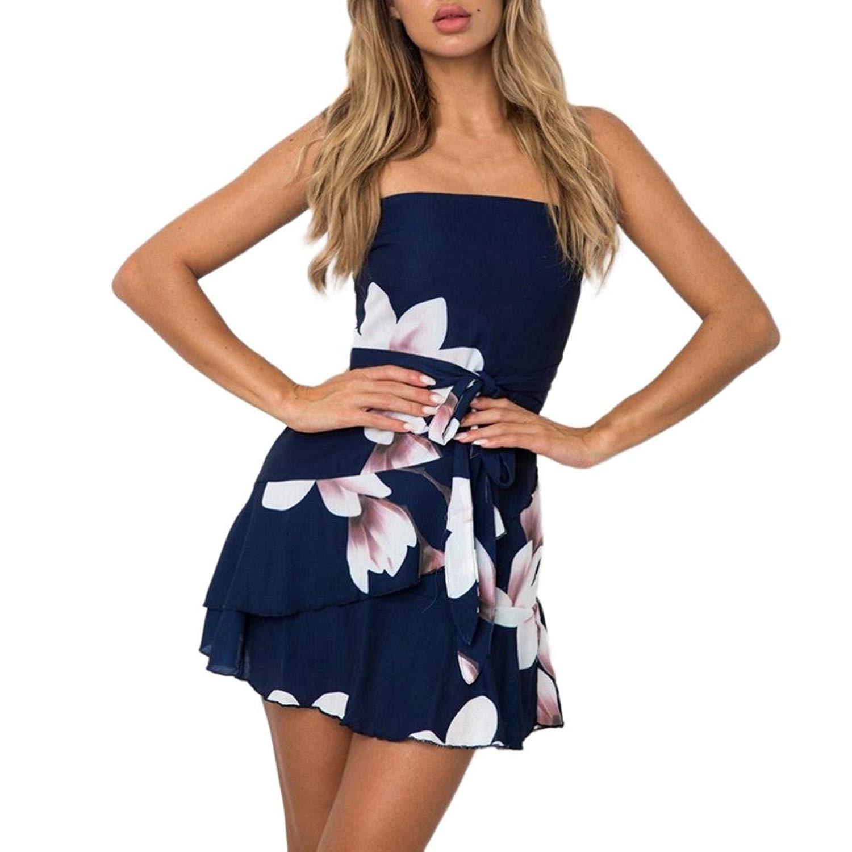 f9017a5c5524 Get Quotations · Lethez Clearance Women s Strapless Tube Top Floral Print  Flowy Mini Dress Sleeveless Ruffles Short Beach Dress