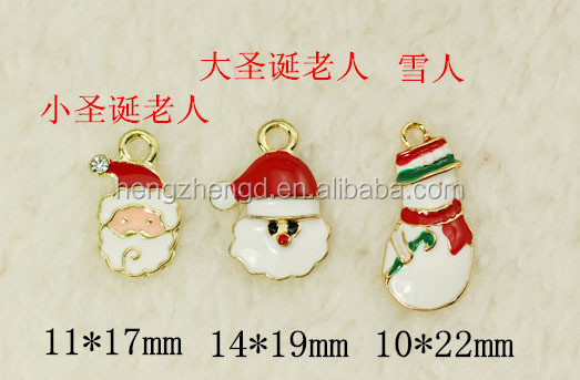 Wholesale fashion DIY charm accessories gold plated with color enamel santas/snowman christmas charm pendant