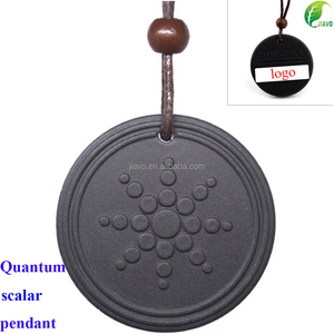 Sunflower Pattern Natural Lava Stone Quantum Scalar Energy Pendant With 6000 - 7000 ions