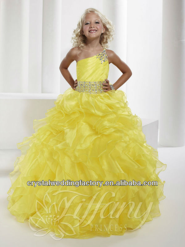 2013 one shoulder beaded pageant gowns ruffled skirt yellow puffy flower girl dress CWFaf5228