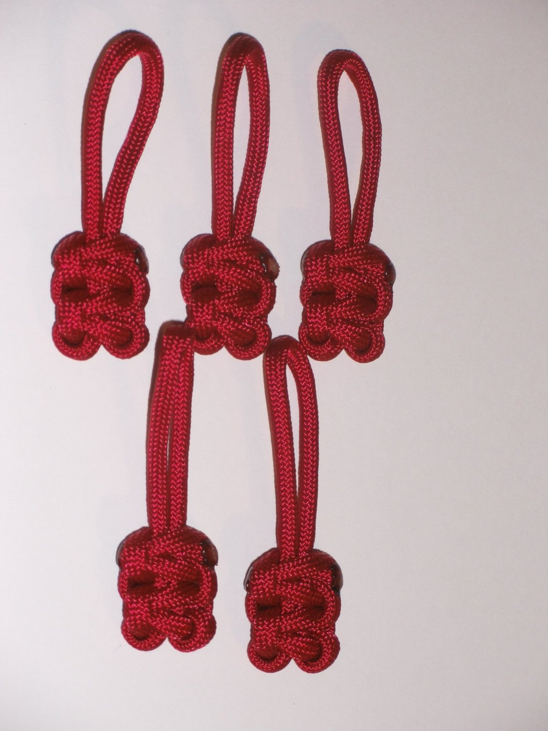 RedVex Paracord Zipper Pulls / Lanyards - Lot of 5 - ~2.5 - Red