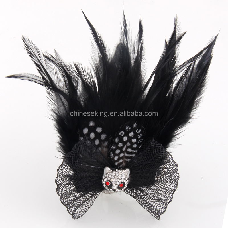Tiny Panda Feather Corsage Clip Fascinator Brooch Black Lace Net Hair  Decoration Hairpin - Buy Tiny Panda Feather Corsage Clip,Fascinator  Brooch,Black