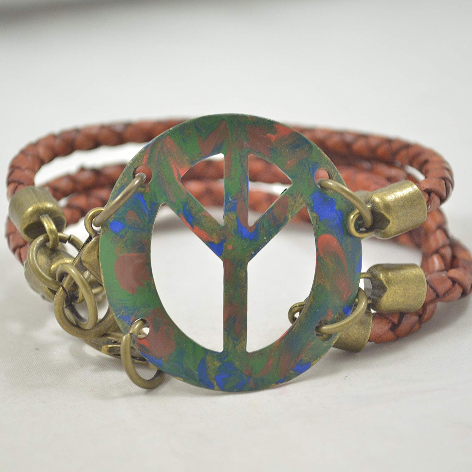 Hand-Painted Peace Sign Leather and Metal Bracelet