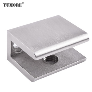 Heavy duty 90 degree right angle adjustable square tube stainless steel metal d corner wall mounted glass clamp