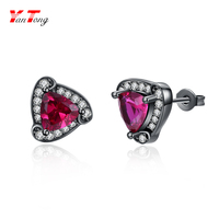 Black Gun Plated Clear Zircons Round Main Triangle Rose Red Zircon Stud Earring Wedding Engagement