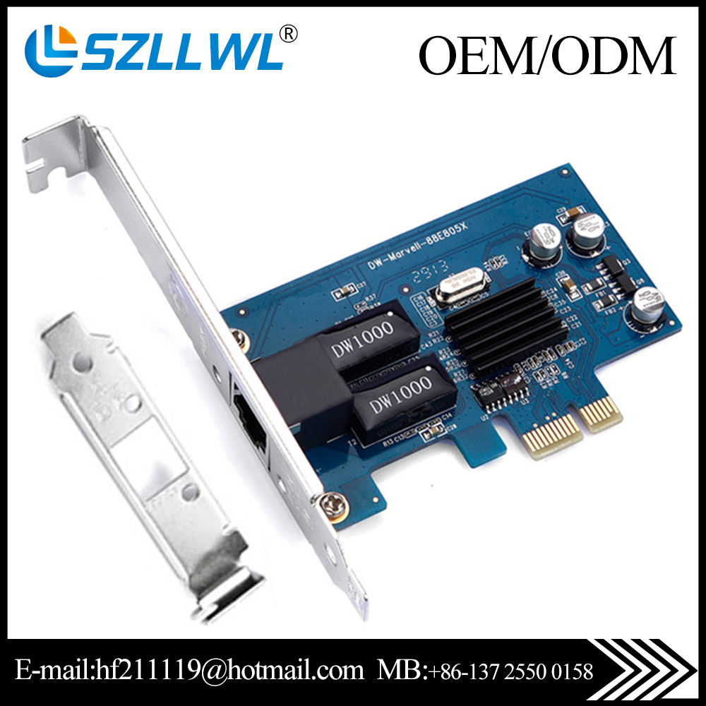 Gigabit ethernet Marvell88E805 chip PCI-E diskless 1000Mbps network card for laptop