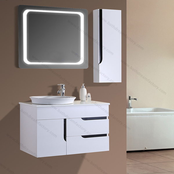 Wash Basin Bathroom Mirror Cabinet With Light & Pvc Bathroom Wash ...