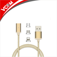 Magnetic Cable Charger Nylon Braided Micro USB Type-C 3 in 1 Data Magnet Fast Charging Cable