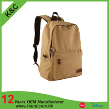 2016 OEM new design canvas backpack school bag factory
