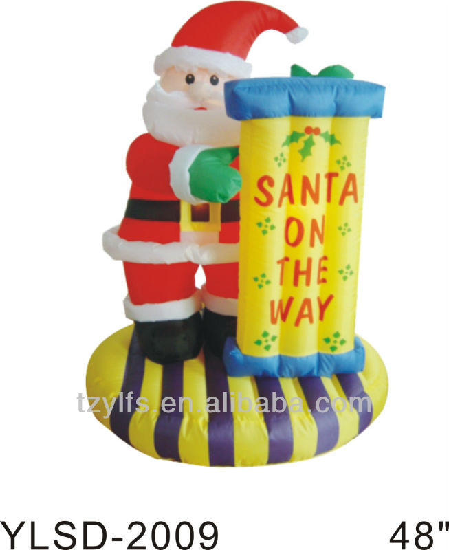 2017 new xmas decorations inflatable christmas santa on the way wayside Display board xmas decorations