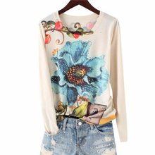 Лидер продаж, женская футболка с цветочным принтом, 4XL, 2020, Весенние футболки с длинным рукавом и графическим принтом, тонкая футболка, базов...(China)
