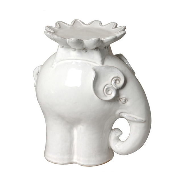 Ceramic Standing Elephant Tealight candle holder available in White or Green