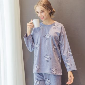 2666817219ac Hot Women Pajama Set Cotton Sleepwear Women Nightwear Grey Nightgown with  Cartoon Printing for Girls
