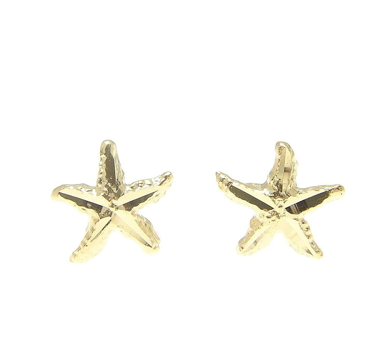Get Quotations 14k Yellow Gold Hawaiian 7mm Diamond Cut Sea Star Starfish Earrings