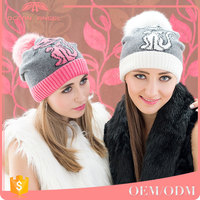 Eco friendly custom soft rabbit wool winter wholesale knit beanie hat with pompon for lady/girl