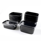 PP microwave disposable Rectangle black plastic food container with lid