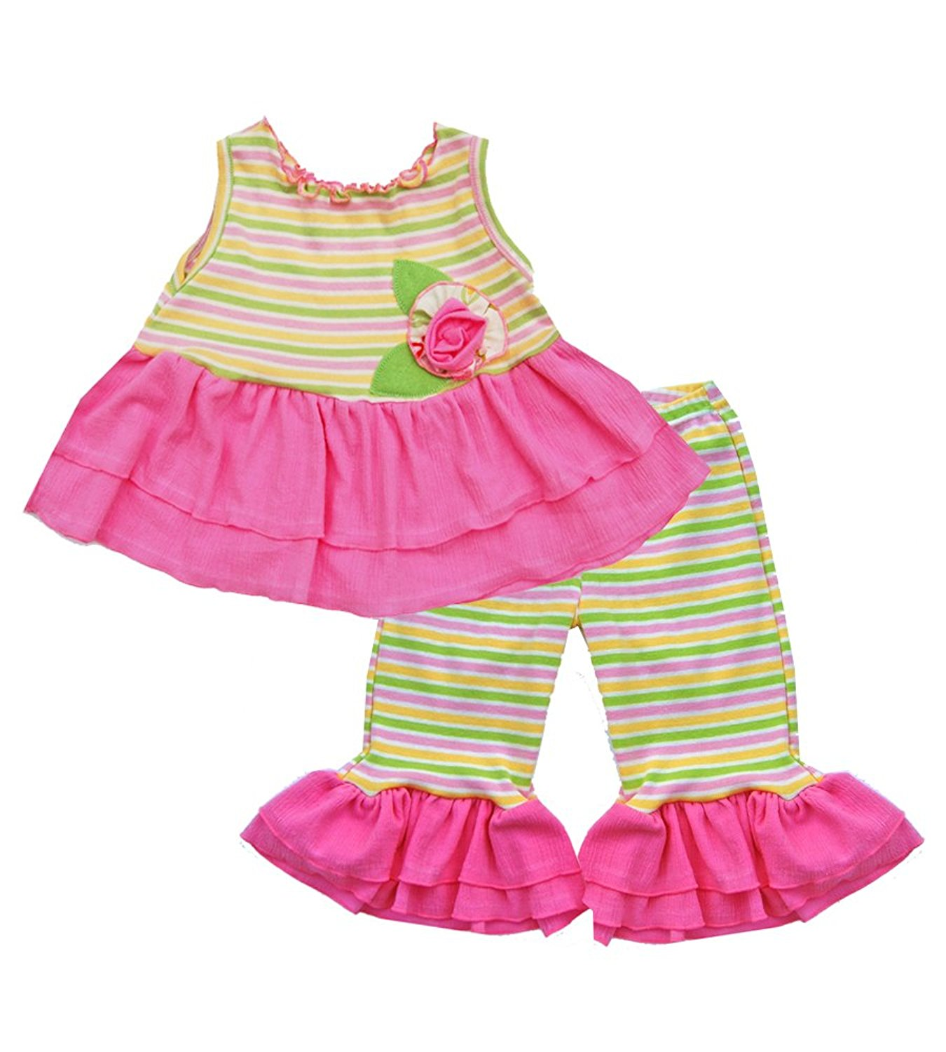 Cheeky Banana Little Girls Allegro Babydoll Top /& Capris Set Fuchsia