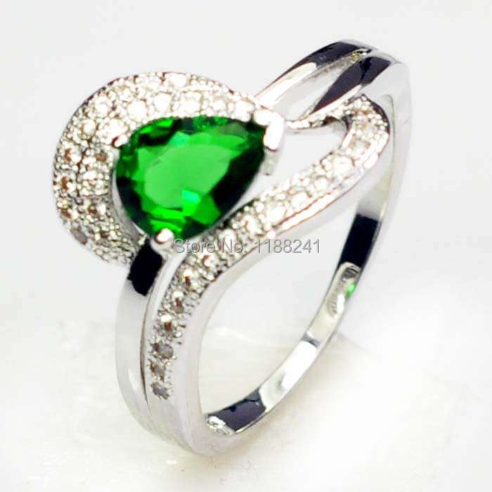 10pcs/lot Wholesale Price White Gold Filled Emerald Green Sapphire 10KT Finger Ring Vintage Jewelry For Women Size 6/7/8/9 NEW