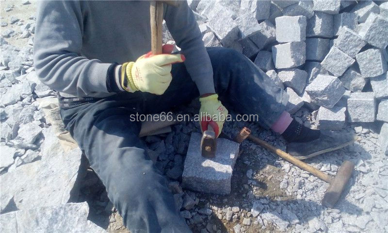 latest hot sale cheap well polished beautiful hand carved grey granite cobble stone on mesh
