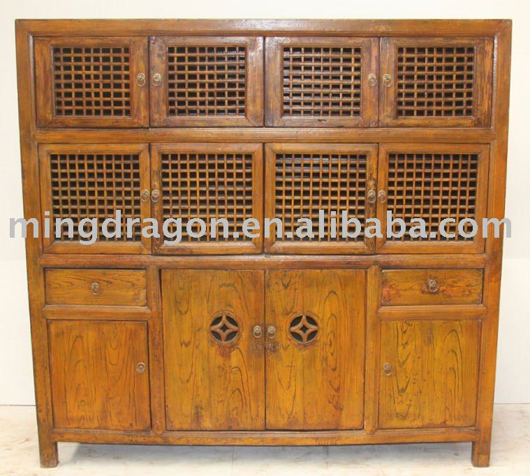 Antique Chinese Solid wood Cupboard Kitchen Cabinet