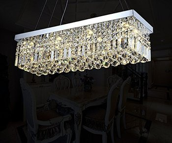 "7PM W40"" x D10"" Modern Rain Drop Rectangle Clear K9 Crystal Chandelier Pendant Lamp Lighting Fixture 8 Lights for Dining Living"
