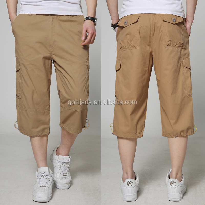 Yellow Cargo 3/4 Pants,Black Mens 3/4 Cargo Shorts,100% Polyester ...