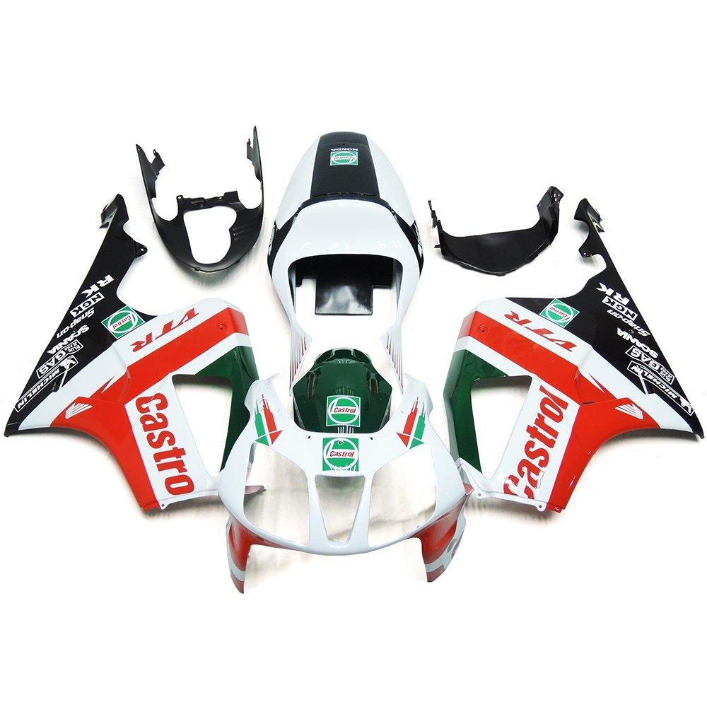 Sportfairings Castrol White Red Plastic ABS Injection Fairing Kits For Honda VTR 1000 RC51 SP1 SP2 2000 2001 2002 2003 2004 2005 2006