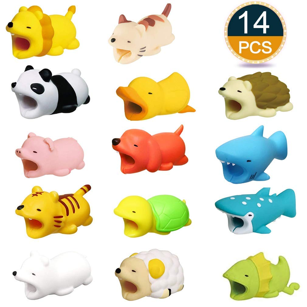 Boshanda 14 PCS Cute Animal Cable Bites Phone Cable Bite Cord Data Line Protects Cell Phone Accessories Charging Cables Protective