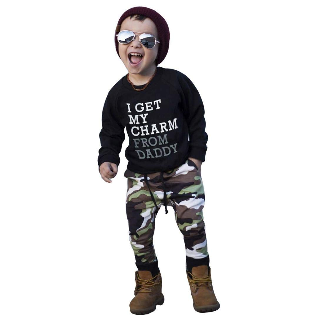 42226f2f24e7 Get Quotations · Iuhan Kids Baby Boy Letter T shirt Tops+Camouflage Pants  Outfits Toddler Clothes Set
