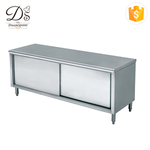 Heavy duty metal work bench stainless steel kitchen work tables with cabinet