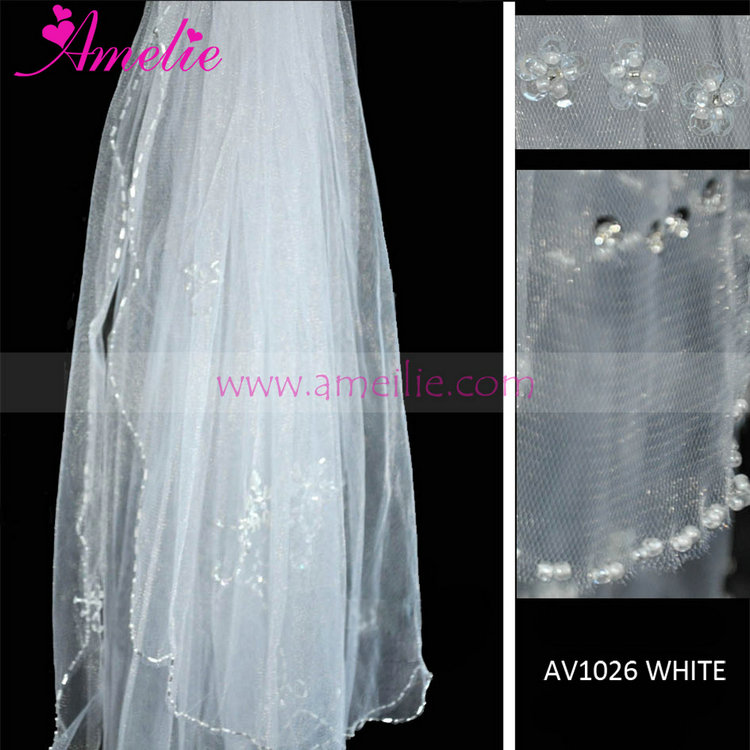 Beaded And Crystal Frill Wedding Bridal Veil For Short Hair ...