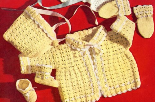 Vintage Crochet PATTERN to make - Baby Sacque Bonnet Cap Booties Mittens Set. NOT a finished item. This is a pattern and/or instructions to make the item only.