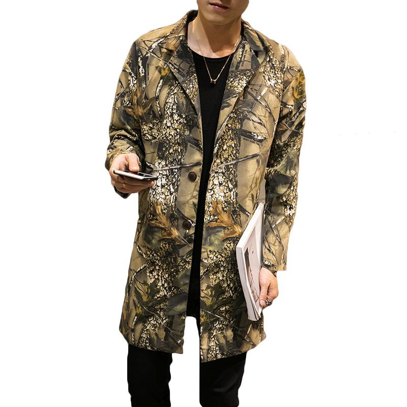 b717ec246 Wholesale- New Designs 3D Forest Print Men s Trench Brand Clothing  Camouflage Long Style WindBreaker Jackets Men Hip Hop Coat Male Plus 5XL