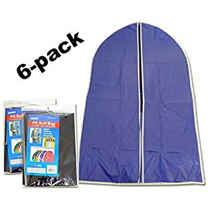 "6-pack Suit Bags for Clothes Storage (24""x35"" Thin Vinyl) in Three to Four (3-4) Assorted Colors (Blue, Black, Silver, Gray, Burghundy, Creme) - Great Garment Bags for Suits and for Storage in Closet or for Travel (99728-Vinyl)"