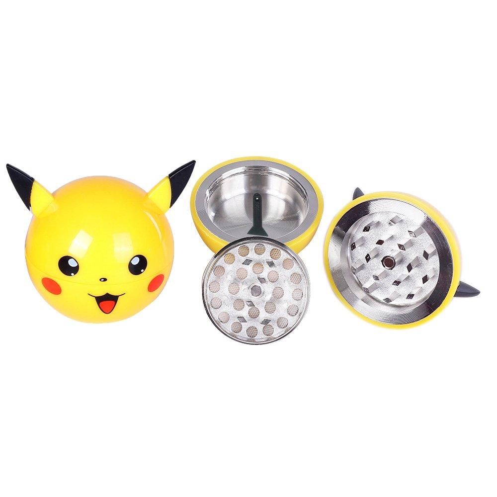 Pokemon Herb Grinder Pikachu 3 Piece Weed Spice Tobacco Poke ball Grinder with Pollen Catcher (Pikachu)
