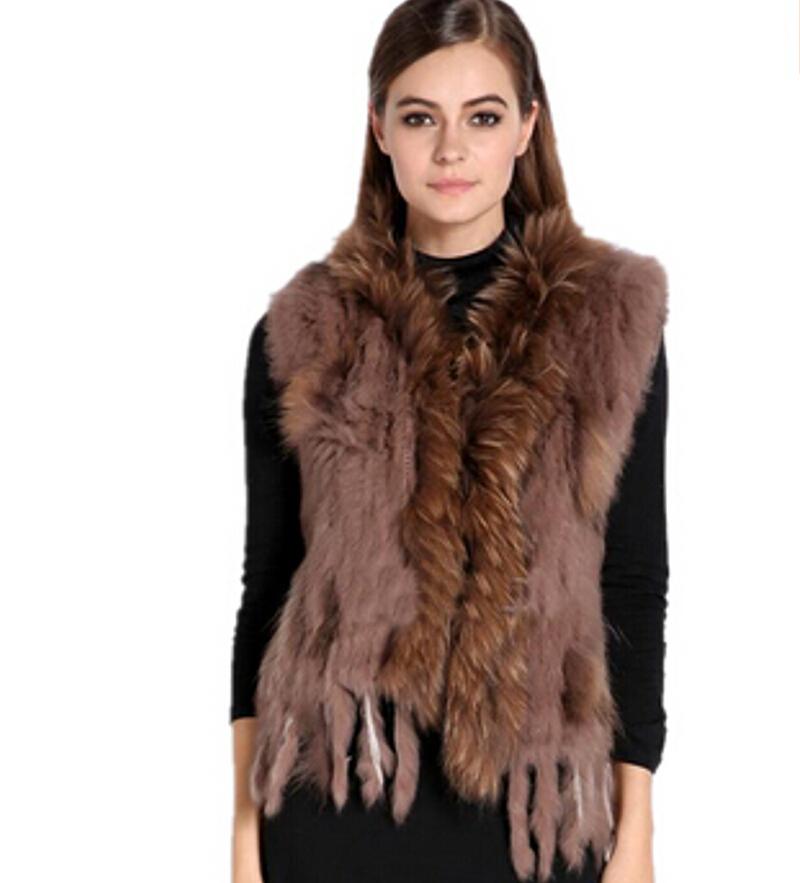 8f725f9839 Get Quotations · Chopop Fur 2015 Autumn and winter Knitted rabbit sweater vest  fur vest tassel rabbit fur vest