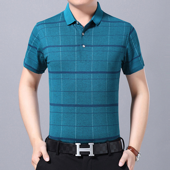 Cheap wholesale western style middle age old man stripe soft man shirt