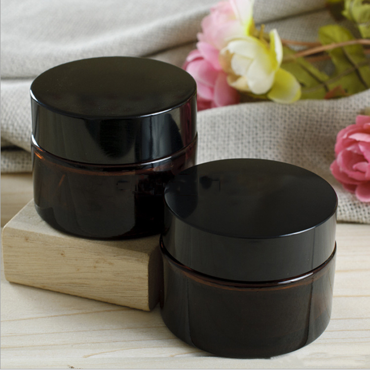 10g 30g 50g 100g amber clear black glass cream jar cosmetic jars with silver lid lip balm container glass jar with plastic lid