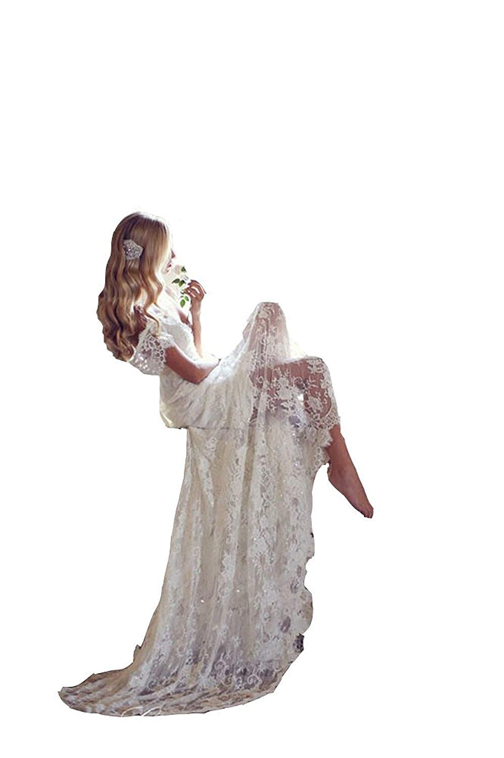 Fanciest Women's Lace Wedding Dresses 2017 Cap Sleeves Boho Wedding Dress