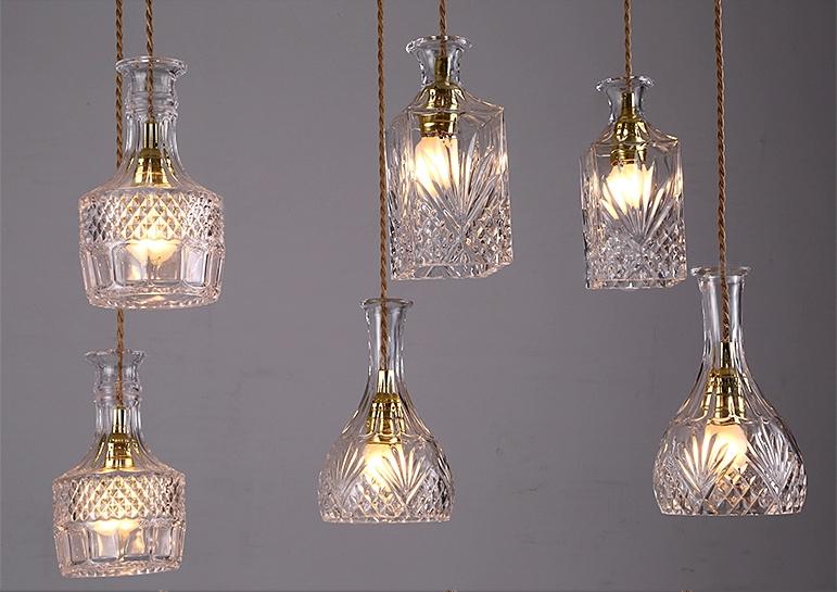 Modern Vintage Retro Rural Loft Light Gl Winebottle Indoor Chandelier Droplight Pendant Lamp