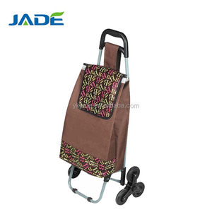 Plastic handle steel tube six wheel trolley luggage shopping cart,rolling foldable shopping trolley bags for climb stairs