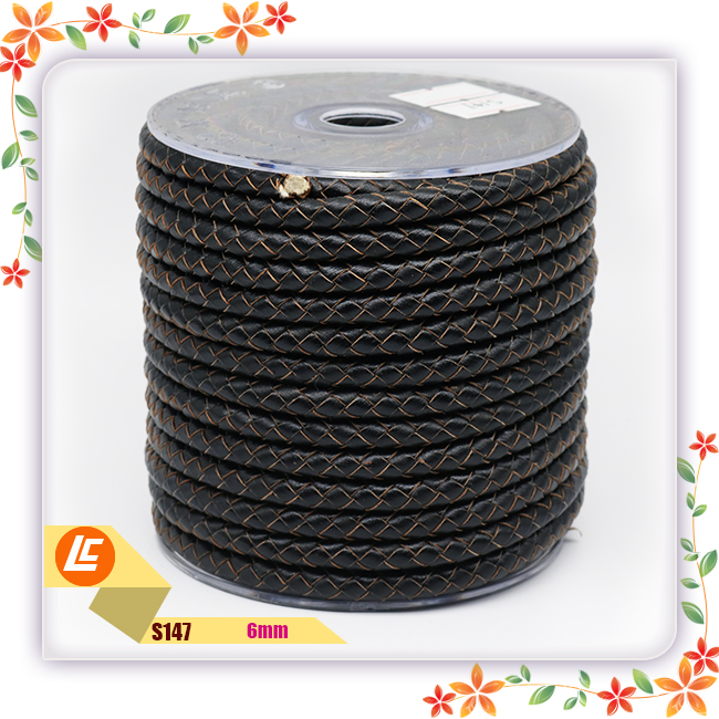 wholesale black round leather string 6mm