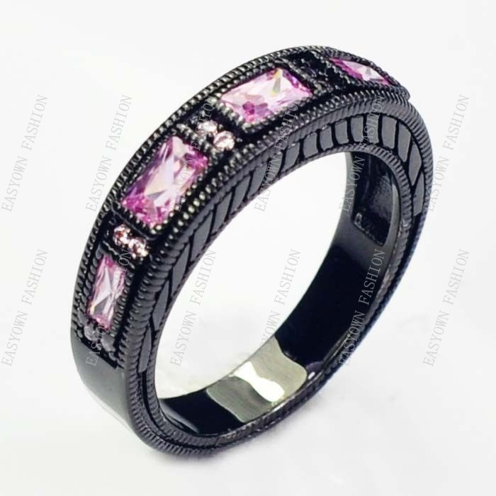 10pcs/lot  Women 10KT Black Gold Filled Finger Ring Pink Sapphire Size 6/7/8/9/10 Free Shipping E2549-53